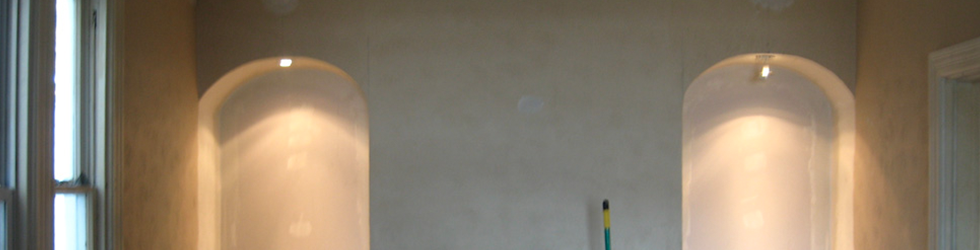 Drywall and downlights.